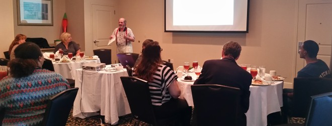Joe Fournet stresses a point in his Kick Starting Creativity presentation at American Advertising Federation of Central Texas.