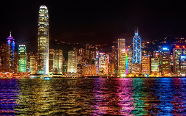 Hong Kong at Night in LGBT Colors