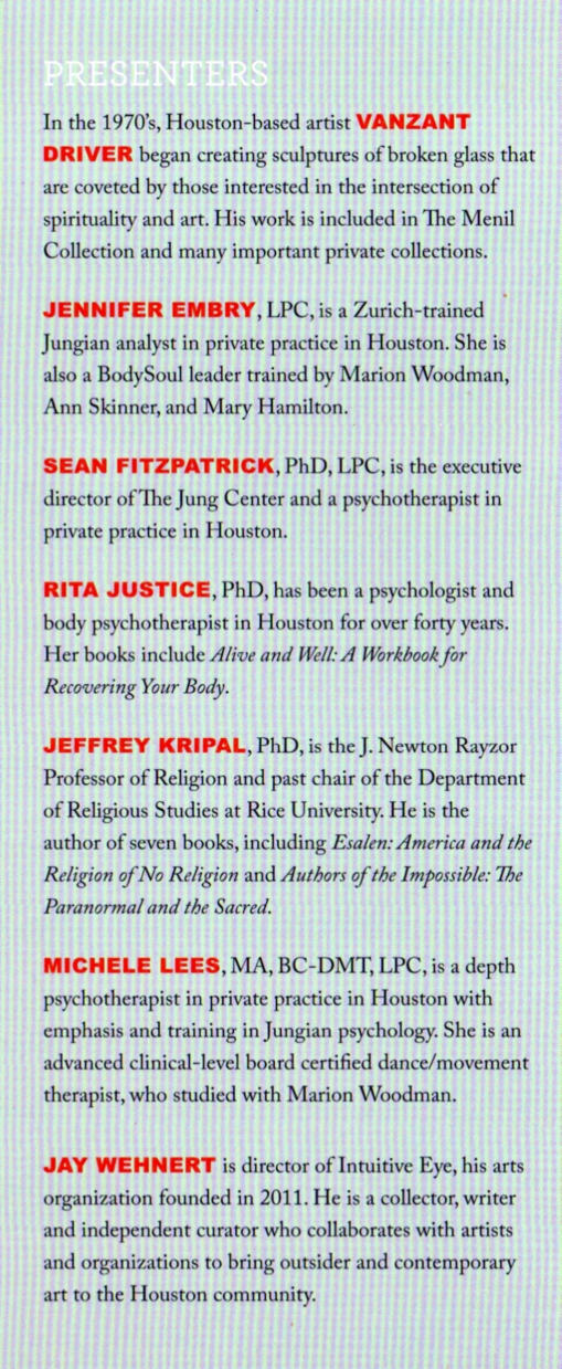 Presenters to 2016 Summer Conference at Jung Center