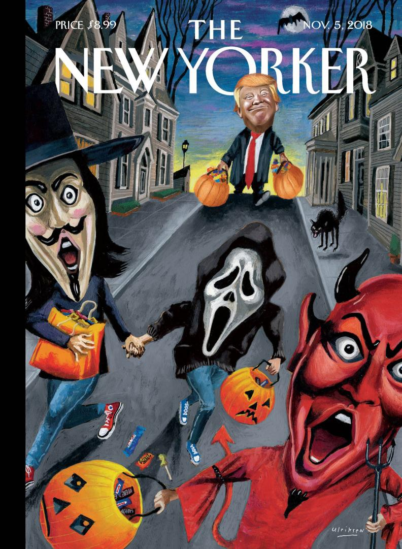 Young trick or treaters being scared by a Trump-like figure with orange hair and carrying two very full pumpkins of candy
